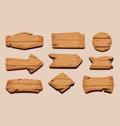 wooden cartoon boards rustic label ribbons vector image