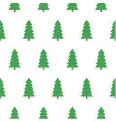 xmas snowy green fir forest seamless pattern vector image