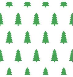 xmas snowy green fir forest seamless pattern vector image