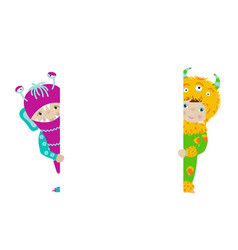 Cute kids in monster costumes with white board vector