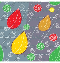Leaves and lines autumn seamless vector image
