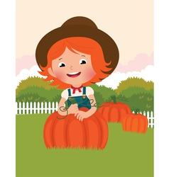 Little farmer of pumpkins vector image vector image