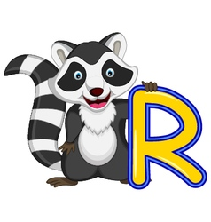 raccoon cartoon posing vector image