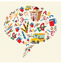 school supplies bubble vector image