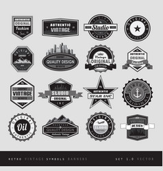 vintage retro labels black and white isolated vector image