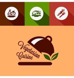 flat vegetarian cuisine design elements vector image