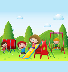 kids playing together in the playground vector image vector image