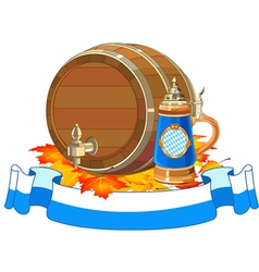 Oktoberfest keg and mug vector image vector image
