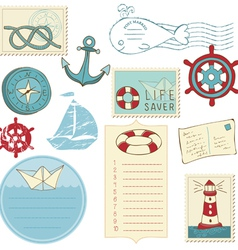 scrapbook sea elements vector image vector image