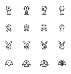 trophy and awards icons set line icons vector image vector image