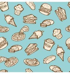 vintage food snacks pattern vector image vector image