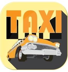 Vintage taxi car cartoon sketch icons vector image vector image