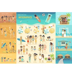 Beach Infographic set with charts and other vector image vector image