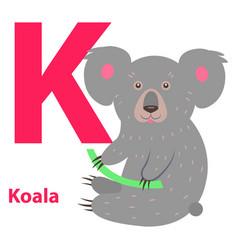 funny gray koala on letter k alphabet art poster vector image vector image