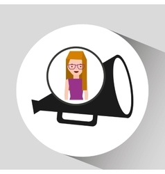 Girl cartoon and megaphone icon cinema graphic vector