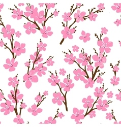 Seamless pattern with cherry blossoms Spring vector image vector image
