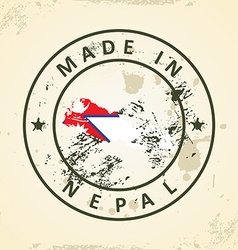 Stamp with map flag of Nepal vector image vector image