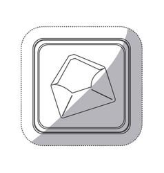 sticker monochrome silhouette square button with vector image vector image