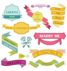 Wedding Vintage Frames Ribbons vector image