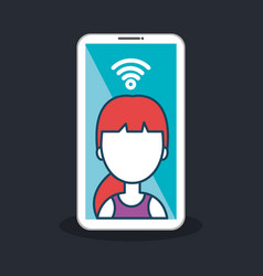 character female smartphone connected internet vector image vector image