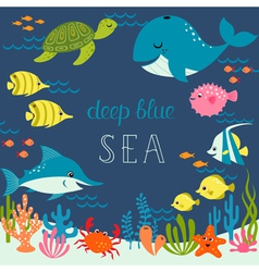 Cute deep blue sea vector image