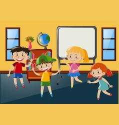 students having fun in classroom vector image