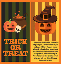 trick or treat poster and text vector image
