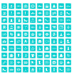100 woman shopping icons set grunge blue vector image