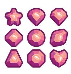 a set of violet emblems of precious stones vector image