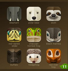 animal faces for app icons-set 11 vector image