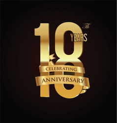 anniversary retro vintage badge 18 vector image