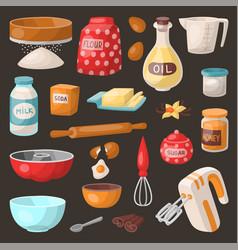 Baking pastry prepare cooking ingredients kitchen vector
