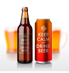 Beer bottle and can with label - keep calm vector