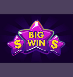 big win banner background for for online casino vector image