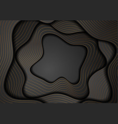 Black corporate wavy background with bronze lines vector