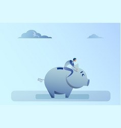 business man sitting on piggy bank money savings vector image