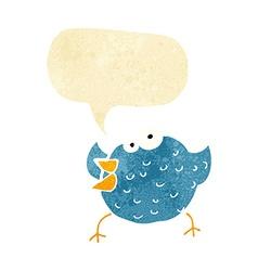 Cartoon happy bird with speech bubble vector