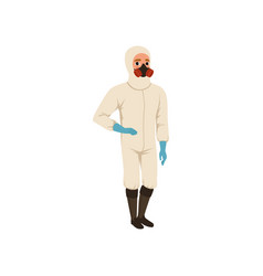 Cartoon man in protective chemical suit gloves vector