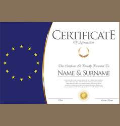 Certificate or diploma european flag design vector