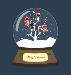 christmas snow globe with owls on the tree vector image