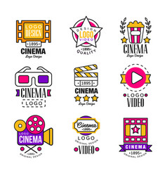 Cinema since 1895 logo design set video symbols vector