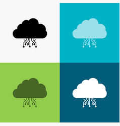 cloud computing data hosting network icon over vector image