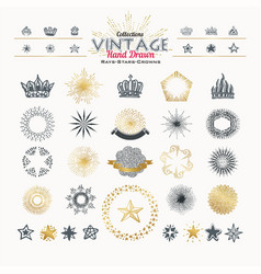 collection of vintage hand drawn elements rays vector image
