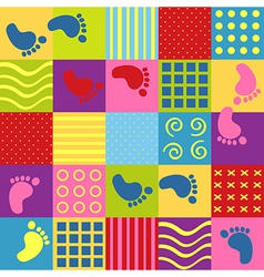 Colorful seamless pattern with squares footprints vector
