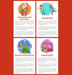 conversation with santa claus christmas holidays vector image