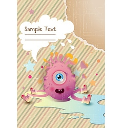 Cute monster with chat bubble vector