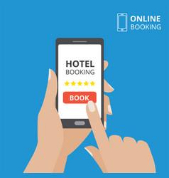 Design concept of hotel booking online hand vector