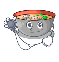 doctor japanese miso soup in cartoon bowl vector image