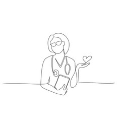 doctor therapist woman in medical uniform and vector image