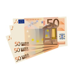 Drawing a 3x 50 euro bills isolated vector